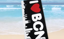 BARCELONA SKYLINE beach towel