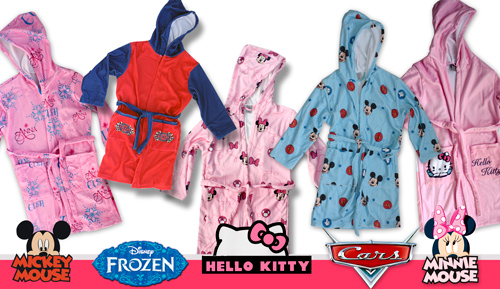 Barnús vellut - infantil - Frozen, Cars, Mickey, Minnie i Hello Kitty