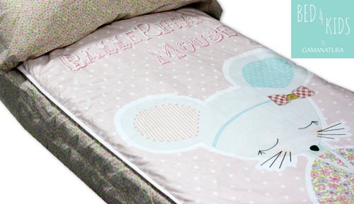 Saco nórdico infantil 100 % algodón  - 'Ballerina Mouse - Bed 4 kids by Gamanatura'