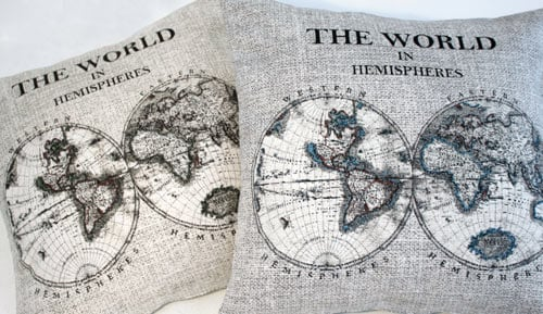 Funda de coixí jacquard - 'The world in Hemispheres'