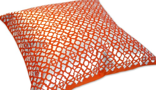 Funda de cojín 40X40 - TANGLE 5607 SILVER / ORANGE