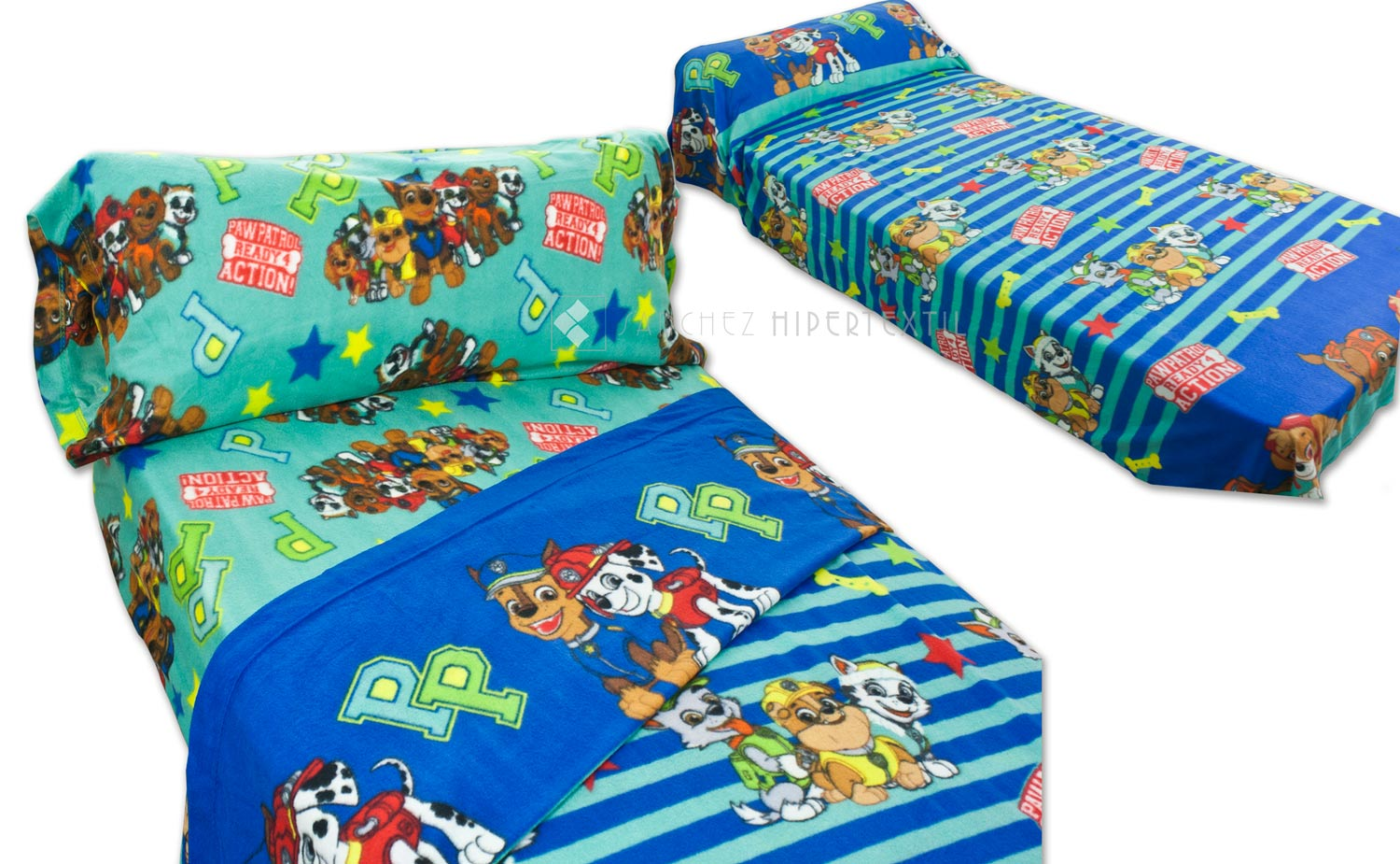 Thermal Bed Linen Set Paw Patrol 449 blue-green