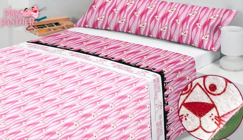 Flannel sheets-3 piece - set PINK PANTHER