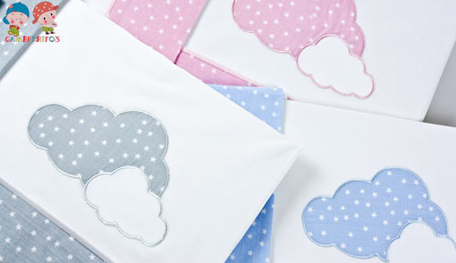 Cradle sheets set 3 pieces - 10109 clouds - GAMBERRITOS