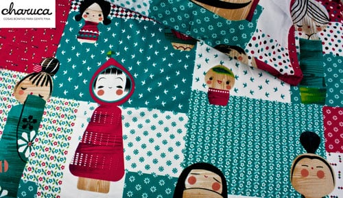 Cover duvet 100% cotton 2 piece - Kokeshi patchwork - Charuca