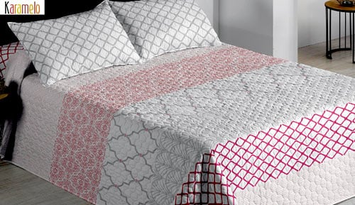 Bouti couvre-lits + coussin couvre - corail - Karamelo
