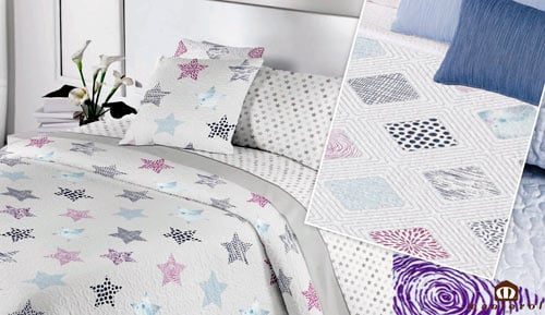 Bouti reversible bedspread + cushion covers - 088 Summer - MANTEROL