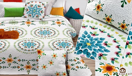 Bouti reversible bedspread + cushion covers - Fresh 273 - MANTEROL