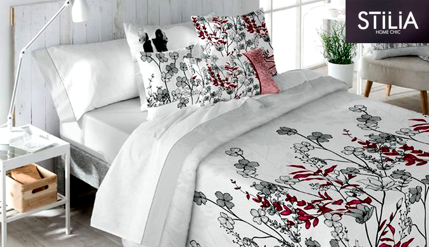 3-piece duvet cover - path geranium - STILIA