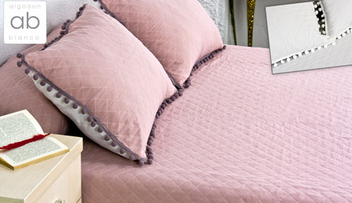 BOUTI BEDSPREAD + cushion - Dijon - white cotton