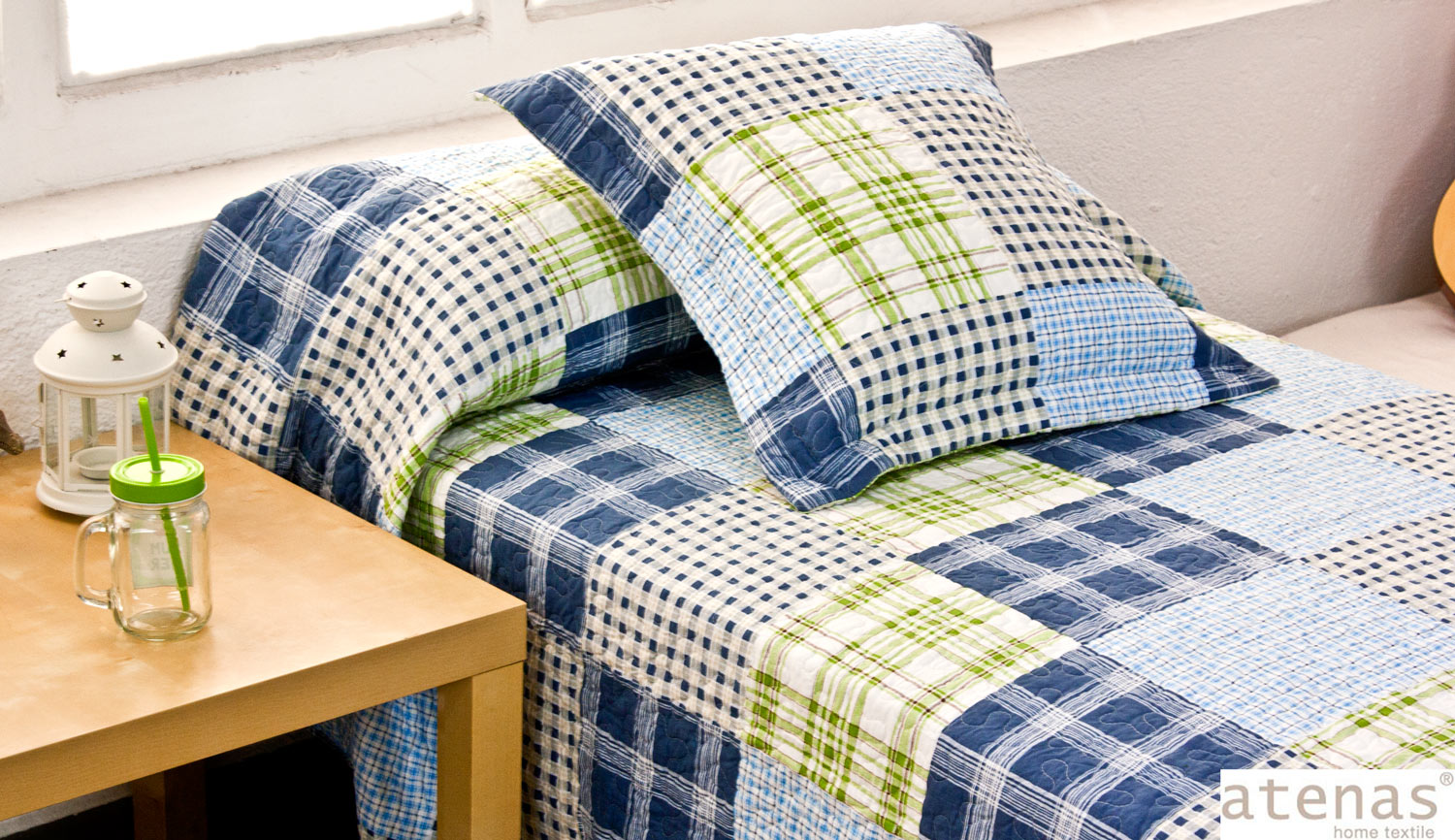 Bouti BEDSPREADS-BEDSPREAD 100% cotton - 7835 Squares - Athens