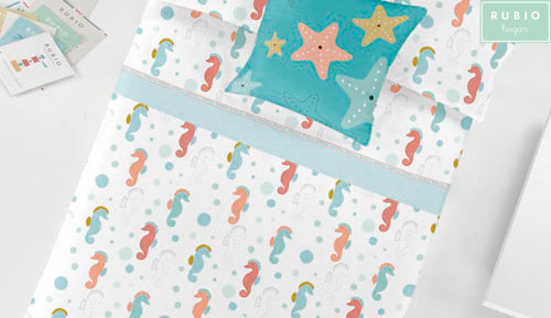 Sheets 2-piece set 100% cotton - Rubio hogar - sea