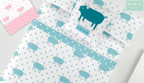 Sheets 2-piece set 100% cotton - Rubio hogar - Oink