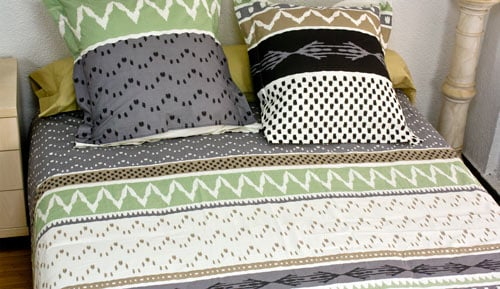 Duvet cover + 2 pillowcases blanket - 100% cotton - Greeny