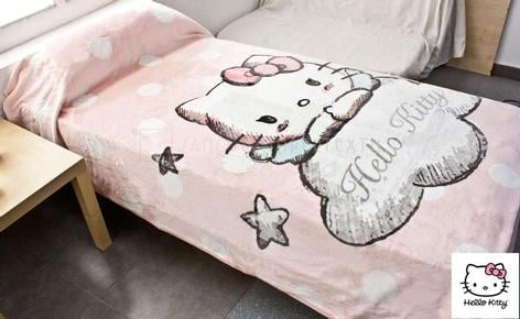 Manta infantil tacto Extrasoft HELLO KITTY ANGELS cama 90 cm.