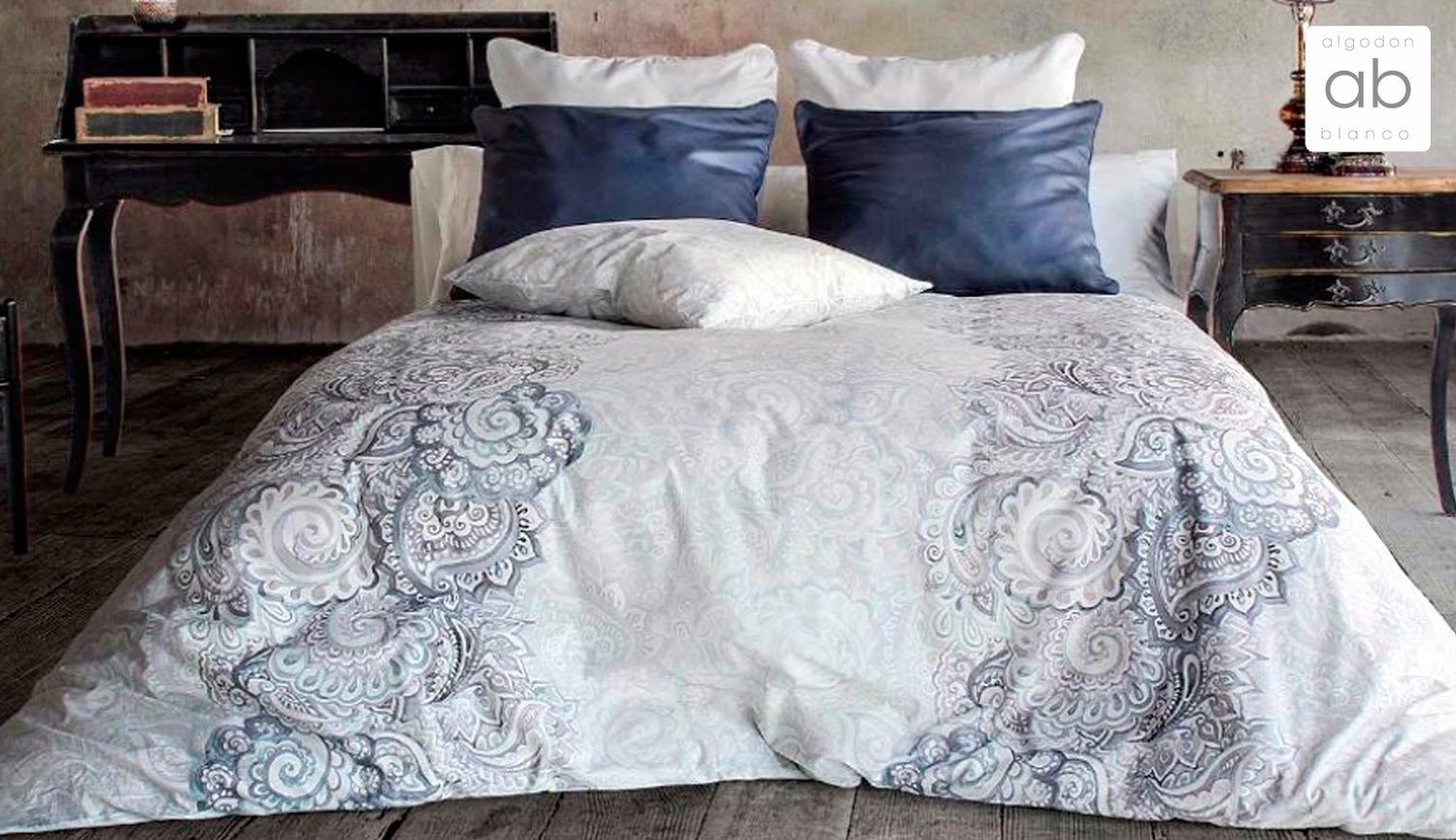5-piece duvet cover 100% cotton - INDO - white cotton