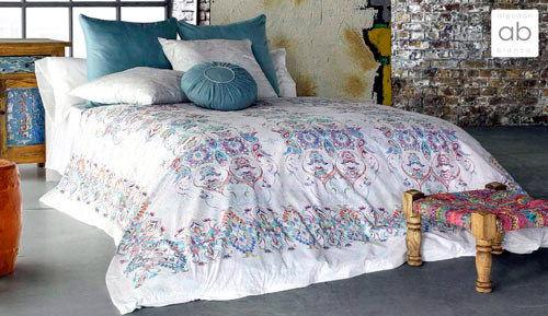 5-piece duvet cover 100% cotton - KHARMA - white cotton