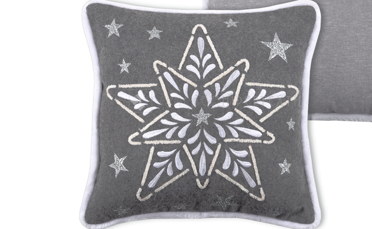 COMPLETE WOOL CUSHION FOR CHRISTMAS Snowing Etoile 40x40 Cm