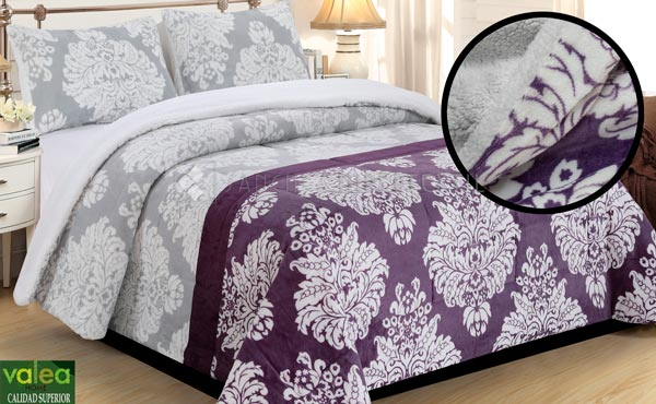 Quilt Sedalina + Sherpa Valea JADE Purple For beds of 90 - 135 - 150/160
