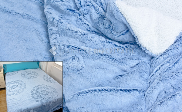 Quilt / Blanket VISON SHERPA BLUE 220x240 cm. for beds 135/150 cm.