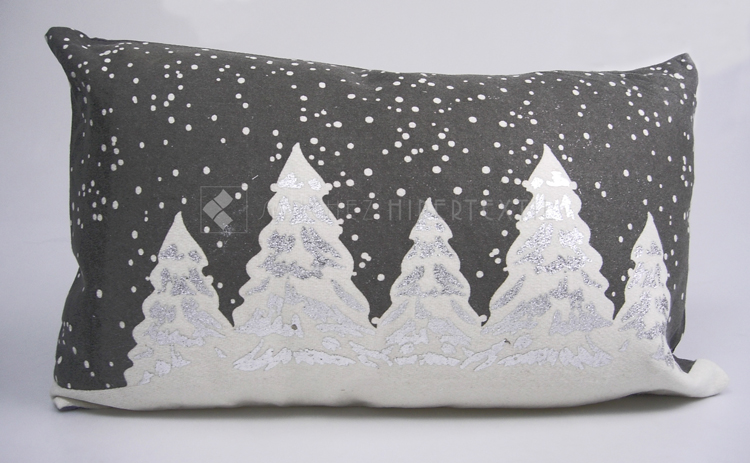 COMPLETE WOOL CUSHION FOR CHRISTMAS SNOWING Gray 30X50 CM