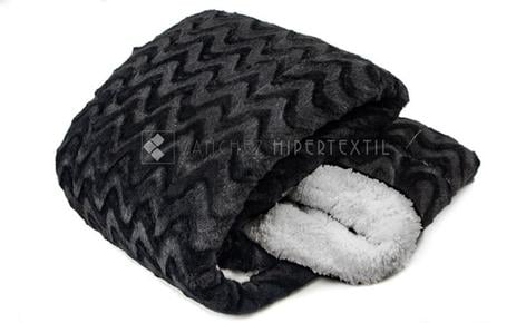 QUILT / BLANKET SHERPA  BLACK Bed 90 - 135/150CM.