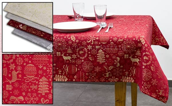 Christmas tablecloth printed with bright lurex thread in various colors and sizes.