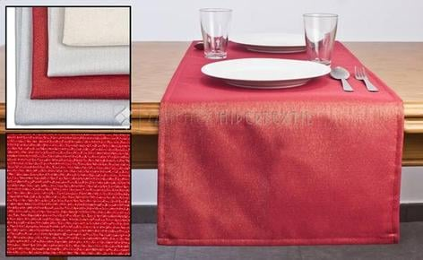 PRINTED TABLE ROAD WITH BRIGHT LUREX THREAD IN VARIOUS COLORS 45X140CM.