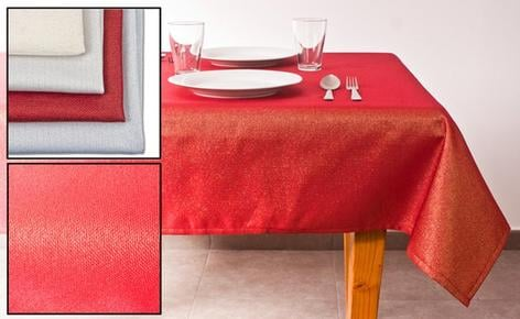 Plain tablecloth with bright lurex thread in various colors and sizes.