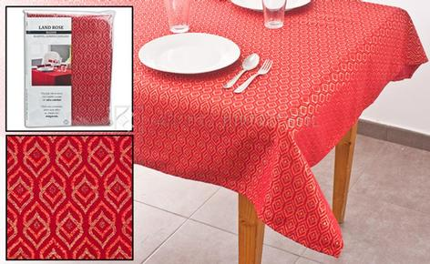 Tablecloth printed with bright lurex thread in various colors and sizes.