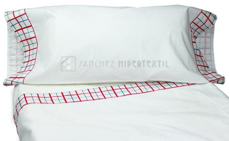 3-piece sheet set adorned with red and blue squares 60 X 120cm