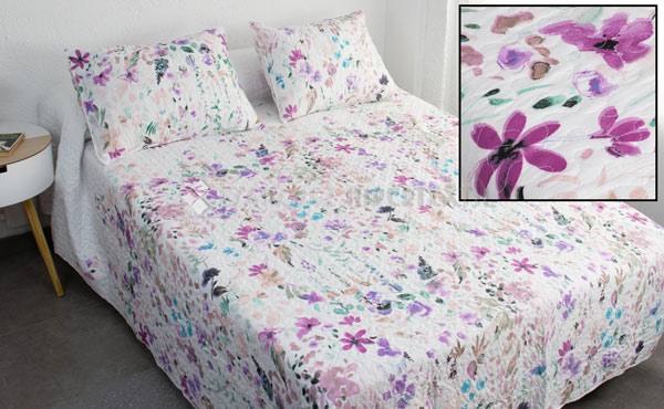 BOUTí COLCHA FLORES MIRACLE HOME SUVA REVERSIBLE