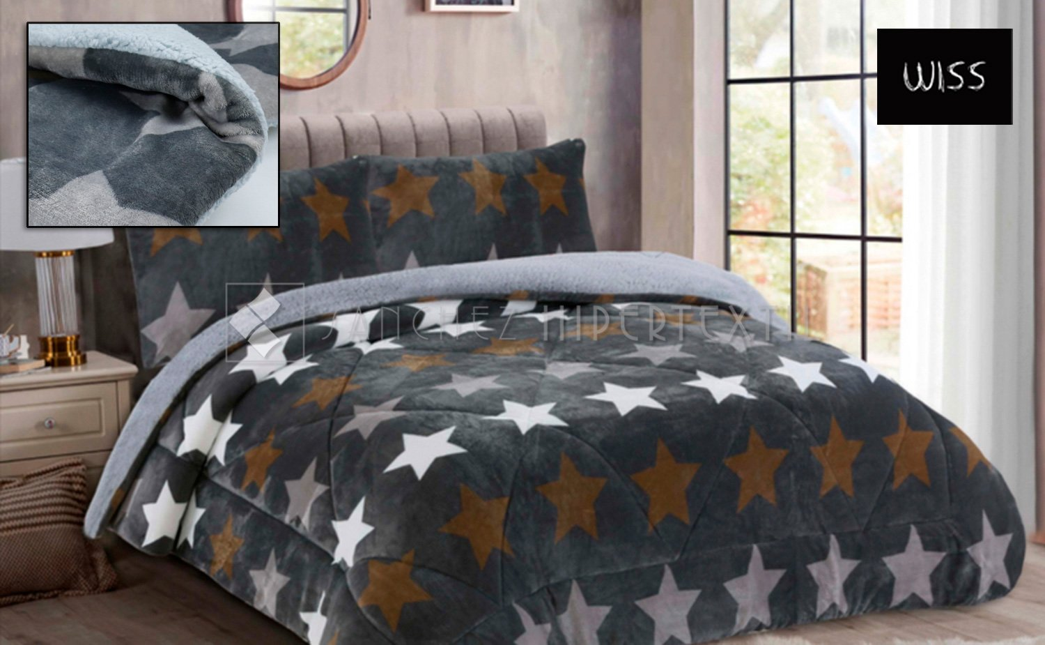 Sherpa Quilt 3 layers SIARA STARS + Pillowcase by Wiss