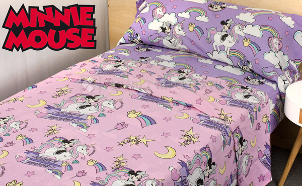 Set of sheets 3 pieces 100% cotton MINNIE UNICORN
