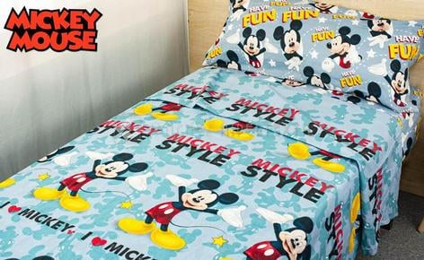 MICKEY STYLE 100% Cotton 3-piece sheet set