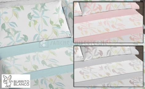Bedding set 3 pieces + bag 100% Cotton D/609 by Burrito Blanco.