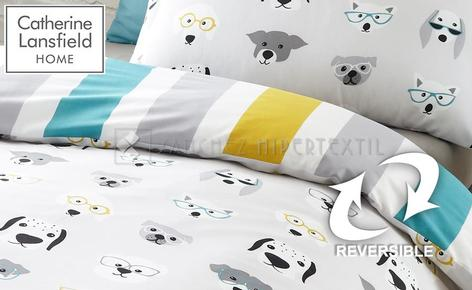 Reversible 2 pieces Duvet cover COOL DOGS by Catherine Lansfield.