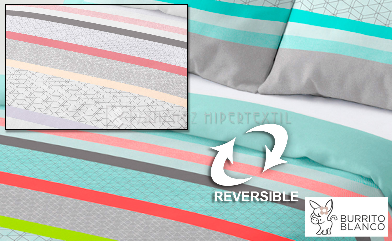 Duvet cover set 2 pieces reversible + bag D-119 by BURRITO BLANCO.
