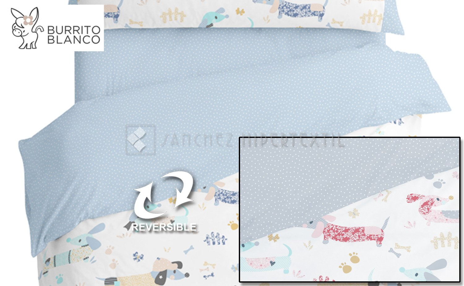 Reversible Duvet cover set 3 pieces + bag  - 169 - DOGS by BURRITO BLANCO.