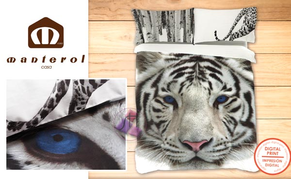 Duvet cover 717 Tiger white bed of 150 / 160cm :: Bed linen from 1